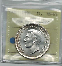 Canada 1950 $ 1 Silver Dollar WL Graded ICCS MS 65 Variety CH # 1950 Rev 007