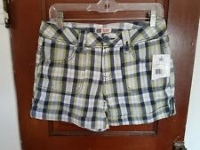 NWT FADED GLORY Women's 4 White Blue Green Plaid 100% Cotton Shorts
