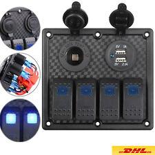 4 Gang LED Schaltpaneel Schalter Schalttafel Schaltpanel für Yacht Boot 12V-24V