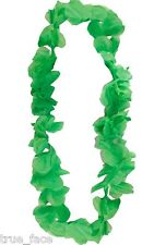 Hawaiian Hula Set Flower Grass Dance Skirt Fancy Stag Hen Party Costume Lot One Size Necklace - Green