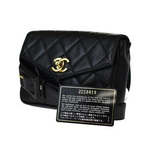 AUTHENTIC CHANEL CC MATELASSE BUM BAG BELT LEATHER 75/30 BLACK VINTAGE 603JD168