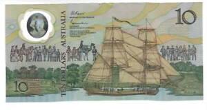 AUSTRALIA $10 Dollars XF POLYMER Banknote (1988 ND) P-49b Prefix AB 31