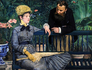Édouard Manet - In the Conservatory 1879, Museum Art Poster, Canvas Print