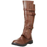 Adult Mens Walker Jedi Faux Leather Halloween Costume Brown Boots S M L XL