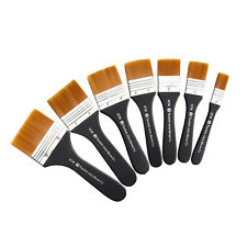 Set of 7 Flat Paint Brushes for Applying Gesso, Acrylic paint