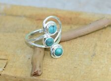 Solid 925 Sterling Silver Round Stone Turquoise Stone Handmade Ring KGJ-R-1137