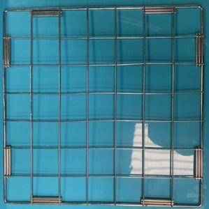 "Stainless Chrome 14"" Square Grid Wall Mesh Panel Retail Storage Display"