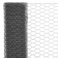 Vidaxl rete D'acciaio Rivestimento PVC 25x1m Trama esagonale Grigio recinzione