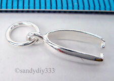 2x STERLING SILVER BRIGHT PENDANT PINCH BAIL CLASP #1693