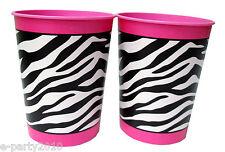 PINK & BLACK ZEBRA STRIPES 16oz KEEPSAKE CUPS (2)~ Party Supplies Favor Reusable