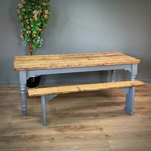 Attractive Large Rustic Farmhouse Pine Kitchen Table & Matching Bench
