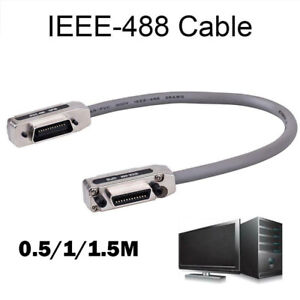 IEEE-488 GPIB Cable Cable Cord Lead Data Line Metal Adapter Plug&Play 0.5/1/1.5M