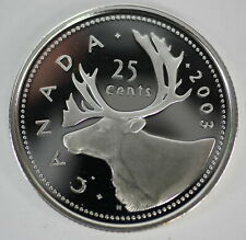 2003 CANADA 25 CENTS PROOF SILVER QUARTER HEAVY CAMEO COIN