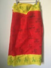 """Girls Red, Yellow plain Cotton Saree with Petticoat. Horse Print 134"""" X 31"""" NWOT"""