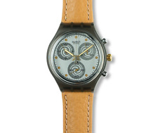 New Condition SWATCH 1992 Chrono 'SIRIO' SCM101 Vintage Collectors Leather Watch