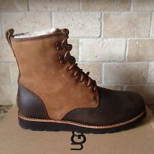 UGG HANNEN TL DARK CHESTNUT WATERPROOF LEATHER FUR BOOTS SHOES SIZE US 13 MENS
