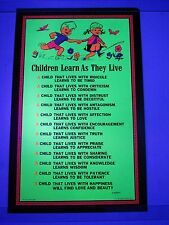 Vintage Blacklight Poster CHILDREN LEARN As They Live R. Russell AA Sales Inc