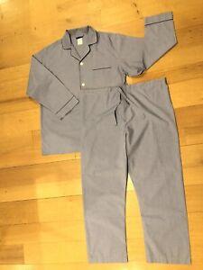 Brooks Brothers Mens Cotton Pajamas Blue Wrinkle Resistant Drawstring Size Large