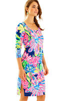 New Lilly Pulitzer Kenzie T-Shirt Dress Travelers Palm Print 3/4 Sleeve S M L