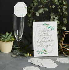GEOMETRIC DRINKS MARKERS & SIGN WHITE GOLD LETTERING WEDDING BABY SHOWER PARTY
