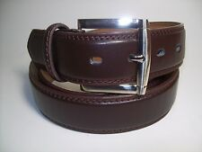 "Men New Dark Brown Leather Belt with Silver Buckle M 34 - 36"" #1015"