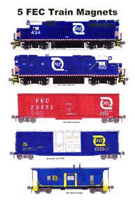 Florida East Coast Blue-era Freight Train 5 magnets Andy Fletcher
