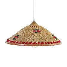 Lantern Shades Farmhouse Decor Bamboo Hat Shape Pendant Light Woven(Style 1)