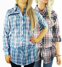 Cotton Classic Collar Checked Tops & Shirts for Women