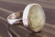 Gemstone Jewellery Prehnite Stone Ring Green Size M-N CH19