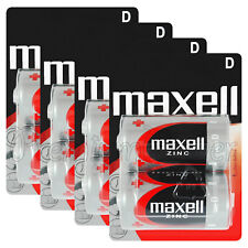 8 x Maxell D size batteries Zinc R20 MN1300 UM1 Torcia Mono Low/Constant Drain