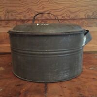 Antique Primitive Round Tin Foot Warmer Pan