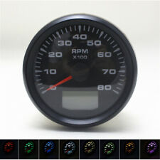 Universal Black Tacho Meter Gauge 8000 RPM 85mm w/ Hourmeter LED for Car Boat 1x