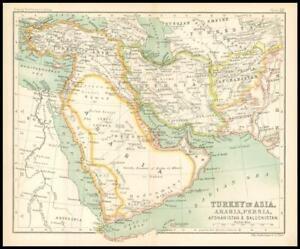 c1912 Map of TURKEY IN ASIA ARABIA PERSIA AFGHANISTAN BULUCHISTAN Regions (BS36)