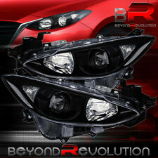 For 2014 2016 Mazda 3 Pair Black Housing Clear Reflectors Projector Headlights Fits Mazda 3