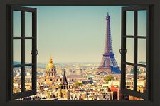 PARIS WINDOW - SCENIC POSTER 24x36 - TRAVEL EUROPE FRANCE EIFFEL TOWER 51892