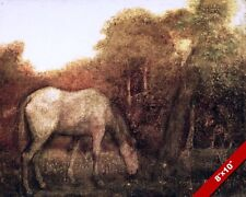 CALM GRAZING HORSE IN PASTURE PEACEFUL ANIMAL PAINTING ART REAL CANVAS PRINT