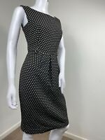 Marks and Spencer Dress UK 10 Black White Polka Dot Spotty Tailored Work Office