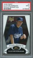 2008 finest rookie redemption #7 CLAYTON KERSHAW dodgers rookie card PSA 9