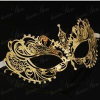 Delicate Gold Venetian Style Metal Mask Filigree Masquerade  Diamante Ball. Prom