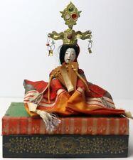 Antique Princess Hina Ningyo Japanese Doll Sitting On A Wooden Platform Stand