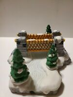 Noma Dickensville Porcelain Bridge With Tree & Snow Christmas Village Accessory