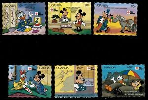 Uganda 1991 - DISNEY CUSTOMS OF JAPAN - Set of 8 Stamps (Scott #888-95)  - MNH