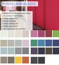 "BLACKOUT Vertical Blind Slats Replacement Louvres 89mm (3.5"") Loads of colours"