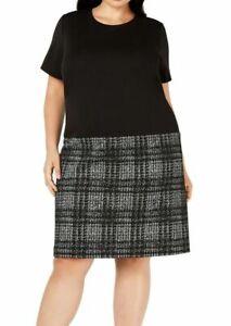 Calvin Klein Trendy Plus Size Plaid Drop-Waist Shift Dress Black/Cream - Size 18