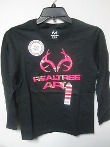 Realtree APC Ladies' Graphic Pink/Black Long Sleeve T-Shirt Size M