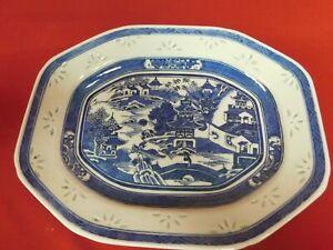 Antique Chinese Export Blue Canton Porcelain Platter