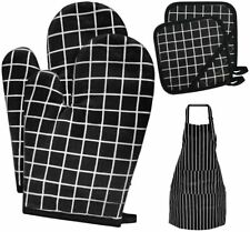 Oven Mitts and Pot Holders, Heat Resistant Kitchen Gloves with Aprons set