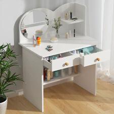 Vanity Dressing Table Wooden Makeup Desk w/ Mirror Drawer Shelf Storage Bedroom