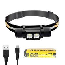 USB Wiederaufladbar LED Stirnlampe, wasserdicht mit 18650 Akku, 2 XML2 LED
