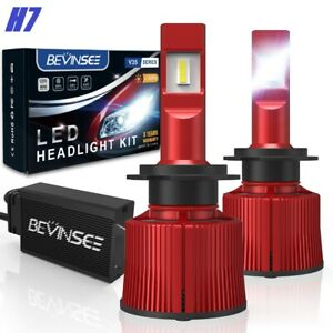 BEVINSEE H7 LED Headlights Bulbs Conversion Kit 6000K High Low Beam 100W 15000LM